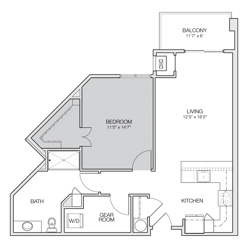 Floor plan b greenbelt apartments for One room apartment floor plans