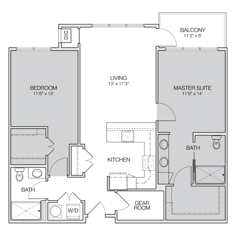 Two Bedroom Two Bath Apartment Floor Plans | online ...