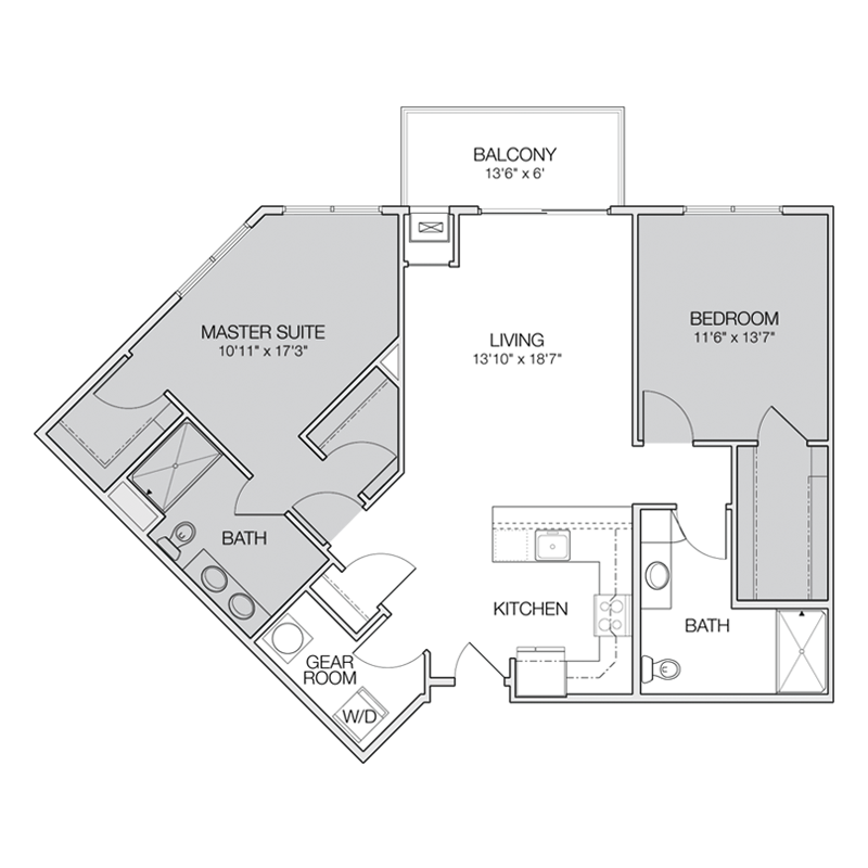 Floor plan c greenbelt apartments for Two bedroom two bath apartment floor plans