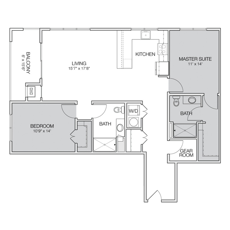 Floor plan e2 greenbelt apartments for 2 bedroom 2 bath apartment floor plans