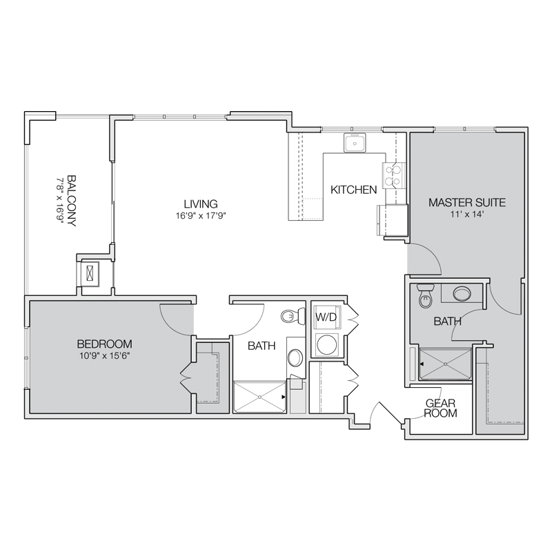 Floor plan f greenbelt apartments for 2 bedroom 2 bath apartment floor plans