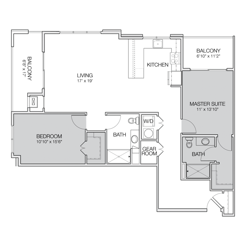 Floor plan g greenbelt apartments for 2 bedroom 2 bath apartment floor plans